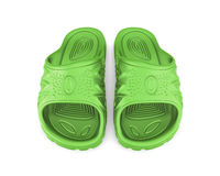 Green beach sandals. Isolated on white background. 3d illustration Royalty Free Stock Images