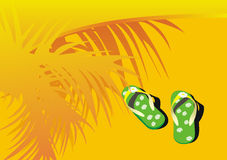 Free Green Beach Sandals On Sand Stock Photography - 15534532