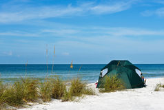 Green Beach Tent Stock Image
