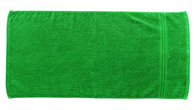 Green beach towel. Isolated on white background stock images