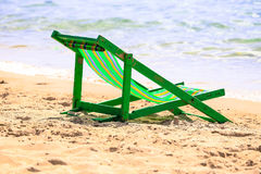 The green Beach trampoline, at sea beach with sand, as nature. Royalty Free Stock Images