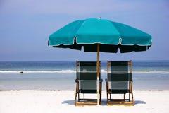 Green Beach Umbrella Stock Photo