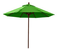 Green beach umbrella. Isolated on white. Clipping path included Royalty Free Stock Image