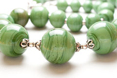 Green bead necklace Stock Image