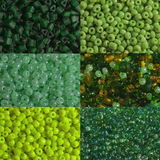 Green beads macro. Six options of a shade and the size of green beads are photographed very largely Stock Images