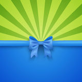Green beam background with blue gift bow and. Bright green beam background with elegant blue gift bow and ribbon. Vector illustration for summer holiday design Royalty Free Stock Images