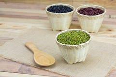 Green bean in bamboo basket Stock Photos
