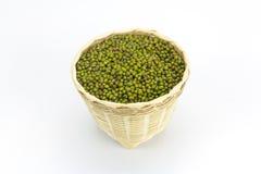 Green bean or mung bean in bamboo basket Stock Photos