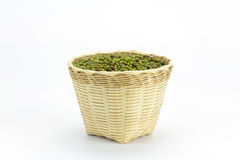 Green bean or mung bean in bamboo basket Stock Photography