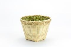 Green bean or mung bean in bamboo basket Stock Photography