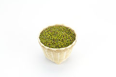 Green bean or mung bean in bamboo basket Stock Images
