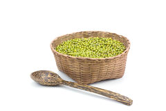 Green bean or mung bean in bamboo basket on white background Stock Photography