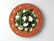 Green bean, mushroom and broad bean salad. Green bean,raw button mushroom and broad bean salad,Food, gastronomy, cuisine,cookery Royalty Free Stock Images