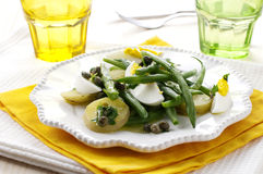 Green bean salad. Green beans salad with potato and egg Royalty Free Stock Photos