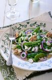 Green Bean Salad Recipes Stock images. Green Bean Salad with Feta Cheese and Walnuts, Closeup royalty free stock photos