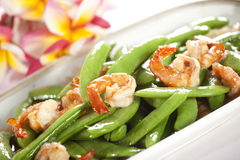 Green bean and shrimp Stock Photos