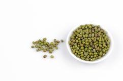 Green Bean (Vigna radiata (L.) R. Wilcz) on white background Stock Photos