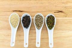 Green bean , white sesame ,black and white pepper in white ceramic spoon Royalty Free Stock Images