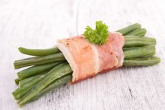 Green bean wrapped in bacon Royalty Free Stock Photography