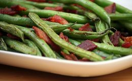 Green Beans. Skillet Roasted Green Beans with Applewood Smoked Bacon Stock Photography