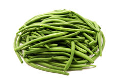 Green beans. Whole green beans on a white background Stock Images
