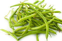 Green beans. On a white background stock images