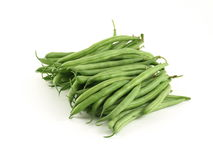 Green beans. Bunch of green string beans on studio isolated background royalty free stock photo