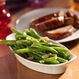 Green beans almondine. Stock Image