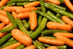 Green Beans and Baby Carrots royalty free stock images