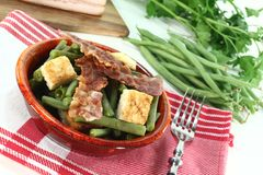 Green beans with bacon Stock Photos