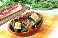 Green beans with bacon Stock Images