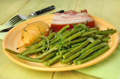 Green beans and bacon meal Stock Images