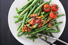 Green beans with bacon Stock Photo