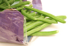 Green beans in bag on side Royalty Free Stock Photo