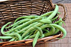 Green beans on bamboo Royalty Free Stock Photo