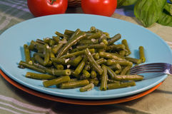 Green beans with basil Stock Photo