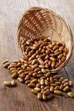Green beans in a basket stock photos