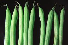 Green Beans on the black Background Royalty Free Stock Photo