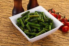 Green beans in the bowl stock image