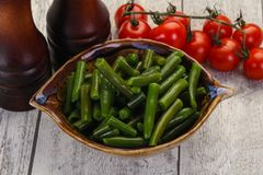 Green beans in the bowl stock photography