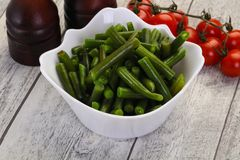 Green beans in the bowl stock photo