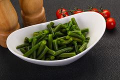 Green beans in the bowl. Ready for cooking stock photo