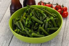 Green beans in the bowl royalty free stock photos