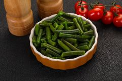 Green beans in the bowl royalty free stock photo