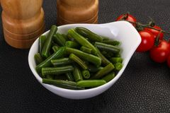 Green beans in the bowl. Ready for cooking stock images