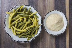 Green beans with bread crumbs Royalty Free Stock Photo