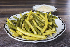 Green beans with bread crumbs Stock Images