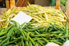 Green Beans. Bunch of Green Beans at Farmers Market Stall Royalty Free Stock Photo