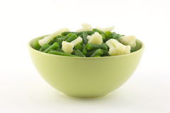 Beans and cauliflowerin bowl close up Royalty Free Stock Photography