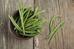 Green beans in ceramic bowl Stock Photos